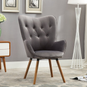 Roundhill Furniture Doarnin Contemporary Silky Velvet Tufted Button Back Accent Chair, Grey