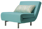 Cortesi Home Savion Convertible Accent Chair futon, Aqua Blue