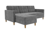 DHP Hartford Storage Sectional Futon with Interchangeable Chaise, Space-saving Design with Multi-position Back, Wooden Legs, Grey Chenille