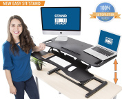 Stand Steady FlexPro Hero Two Level Standing Desk - Easily Sit or Stand in Seconds! Large Work Space w/ Removable Extra Level for Keyboard & Mouse! (Large