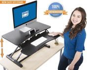 Stand Steady FlexPro Hero Two Level Standing Desk - Easily Sit or Stand in Seconds! Large Work Space w/ Removable Extra Level for Keyboard & Mouse! (Regular