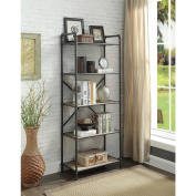 Major-Q Industrial Style 5 Tier Shelf for Living Room, Rectangular, Wood Rustic and Oak Finish, 14 x 26 x 63