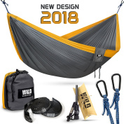 Portable Double Hammock for Camping and Backpacking, Ultralight Parachute Nylon, 2 Daisy Chain Loops Straps, Carabiners and Fire Starter, Durable Outdoor Hiking Gear Holds 230kg