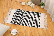 Ecohome Cotton Bath Runner Printed Fringe Rug Geometric Rug for Entry Way Washable Carpet for Kitchen