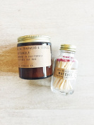 P.F. Candle Co. Teakwood & Tobacco 100ml Scented Soy Candle with Match Bottle