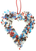 TWO HEARTS GLASS WALL HANGING - Jewel Tone Fused Glass- GIFT BOXED - HANDMADE IN USA - Approx 5x5
