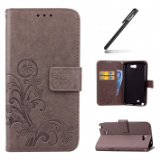 Galaxy Note 2 Case,Galaxy Note 2 Wallet Case,Leather Flip Case for Samsung Galaxy Note 2, Ukayfe [Embossing Clover Flower Leaf] Pattern Premium PU Leather Magnetic Flip Case Cover Pouch Protective Case with Card Slot and Strap for Samsung Galaxy Note 2 ..