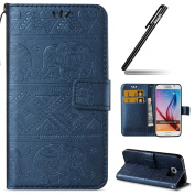 Galaxy S6 Case,Ukayfe Aztec Tribal Elephant Embossed Premium Pu Leather Wallet Case Magnetic Buckle Design Flip Folio Protective Case Cover with Strap Stand and Card Holder for Samsung Galaxy S6 - Dark Blue