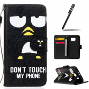 Galaxy S5 / S5 Neo Case,Ukayfe Funny Black Eye Design Pu Leather Flip Wallet Case Cover Pouch With Card Holder and Detachable Wrist Strap for Samsung Galaxy S5 / S5 Neo + Free Stylus Pen