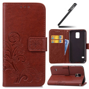 Galaxy S5 Mini Case,Galaxy S5 Mini Wallet Case,Leather Flip Case for Samsung Galaxy S5 Mini, Ukayfe [Embossing Clover Flower Leaf] Pattern Premium PU Leather Magnetic Flip Case Cover Pouch Protective Case with Card Slot and Strap for Samsung Galaxy S5 ..