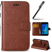 Galaxy J1 2016 Case,Ukayfe Aztec Tribal Elephant Embossed Premium Pu Leather Wallet Case Magnetic Buckle Design Flip Folio Protective Case Cover with Strap Stand and Card Holder for Samsung Galaxy J1 2016 SM-J120 - Brown