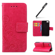 iPhone 5C Case,iPhone 5C Wallet Case,Leather Flip Case for iPhone 5C, Ukayfe [Embossing Clover Flower Leaf] Pattern Premium PU Leather Magnetic Flip Case Cover Pouch Protective Case with Card Slot and Strap for iPhone 5C + 1x Black Stylus, Hot Pink