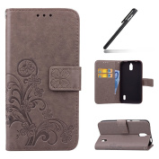 Huawei Y625 Case,Huawei Y625 Wallet Case,Leather Flip Case for Huawei Y625, Ukayfe [Embossing Clover Flower Leaf] Pattern Premium PU Leather Magnetic Flip Case Cover Pouch Protective Case with Card Slot and Strap for Huawei Y625 + 1x Black Stylus, Grey