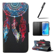 Galaxy A5 2016 Case,Leather Case for Samsung Galaxy A5 2016,Ukayfe Black Wallet Case for Samsung Galaxy A5 2016,Flip Case for Samsung Galaxy A5 2016,Dream Catcher with Colourful Feather Design Pu Leather Magnetic Flip Cover Stand Wallet Case with Soft  ..