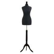Female Tailors Dummy Mannequin Black Size 6/8 Dressmakers Dummies Fashion Students Display Bust With A Black Wood Base