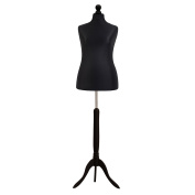 Female Tailors Dummy Mannequin Black Size 16/18 Dressmakers Fashion Students Display Bust With A Black Wood Base
