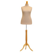 Female Tailors Dummy Mannequin Cream Size 16/18 Dressmakers Fashion Students Display Bust With A Light Wood Base