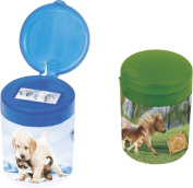 Baier Schneider Sharpener & Fans of Earth, small and large, 32 x 55 x 43 MM in 2 Motif Assorted Colours