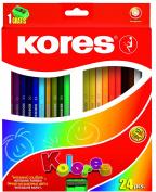 Kores Kolores Coloured Pencils, Hexagonal, 3 mm with Sharpener, 24 Colours