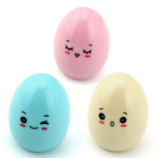 Owfeel Pack of 3pcs Cute Egg Shape Plastic Case Pencil Sharpener 3 colour