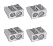 4 x Double Twin Pencil Sharpeners For up to 8mm Pencils 2 Hole Duo