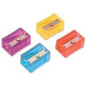 Pack of 10 Helix Pencil Sharpeners, Plastic, With Anti-tamper Screw, 1 Hole, Assorted-