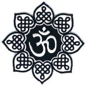 Black White Om Aum Hindu Yoga Lotus Infinity Hippie Retro Biker Jacket T-shirt Vest Patch Sew Iron on Embroidered Badge Custom