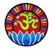 Aum Hinduism Symbol Blue Lotus Cartoon Sign Hippie Retro Biker Jacket T-shirt Vest Patch Sew Iron on Embroidered Badge Custom
