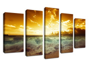 Wall Art Canvas Picture Beach Waves Sunset 5 Panel Ocean Artwork Contemporary Painting Wall Decor for Home Office Decoration Framed Ready to Hang