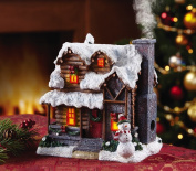 Lighted Incense Burner Smoking Snowman Christmas Village Cabin House Decor Centrepiece Display Table Top Accent Holiday Decoration