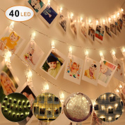 Idefair 40 LED Photo Clip String Lights,Fairy String Lights with Photo Clip for Wedding Party Bedroom Home Christmas Decor Lights for Hanging Photos Cards Memos and Artwork,Battery Powered
