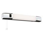 Modern Chrome, White bathroom light with shaver socket, 1 Bulb, LED, Pull switch (Slimline LED Shaver Light (Switched)), FL5928CHI4L | ideas4lighting