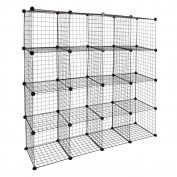 Modular shelving closet storage organising 16 metal cube 35x35cm black by PrimeMatik