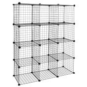 Modular shelving closet storage organising 12 metal cube 35x35cm black by PrimeMatik