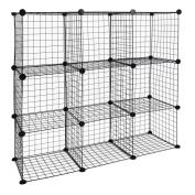 Modular shelving closet storage organising 9 metal cube 35x35cm black by PrimeMatik