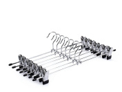 10xToruiwa Hangers Stainless Steel Clothes Trousers Hangers Non-slip Drying Clips Clothing Organiser Wardrobe Space Organisation