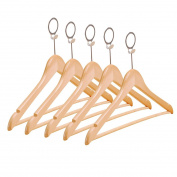 LoKauf 5PCS Adult Solid Wood Clothes Hanger Circular Hook Shops Laundry Holder