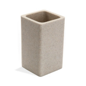 Stone Effect Square Resin Toothbrush Holder Beige