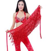 SWIDUUK Belly Dance Dancer Costume Sequins Tassels Fringes Hip Scarf Belt Waist Skirt