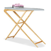 Relaxdays Wooden Bamboo Ironing Board, Flat Ironing Table with Cotton Cover, H x W x D 95x124x39 cm, Natural