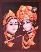 Lord Krishna Wearing Elegant Kukat and Playing Flute and Radha Enjoying, a Decorative Religious Poster with Frame