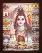 Lord Shiva Om Namo Shivay with 12 Jyotirlinga, a Poster Painting with Frame for Hindu Religious Worship Purpose