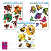 Bug Insect Window Film Decorations - 3 Sheets - Butterfly, Bumblebee, Ladybug