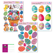 Easter Window Film Decorations - 3 Sheets - Eggs Bunny Rabbit