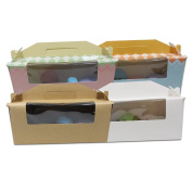 Kraft Papercoard Bakeware Boxes With Clear Plastic Window Handle Cookie Bakery Cupcake Rectangle Gift Wrapping Handmade Soap Snack Storage Decoration 9.4x 3.10cm x 9.9cm