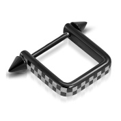 Black Anodized Stainless Steel Checker/Grid Stirrup Nipple Ring