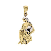 Gold Pendant 585 Yellow/White Pendant 14 K Gold Aquarius