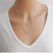 Minifamily® Fashion Alloy Double Infinity Pendant Necklace Silver (1 Pc) Come With Free Unique Ring and Rubber Wrist Band