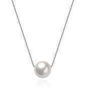 HMILYDYK Women Necklace Genuine 925 Sterling Silver Handmade Big Cultured Freshwater White Pearl Pendant Chain