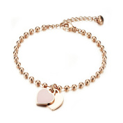 Women's Bracelet with Engraved Rose Gold Gutcandie Stainless Steel Ball Double Heart Pendant Pearl Chain Bracelet Bangle with Gold Curb Chain Bracelet with Anklet